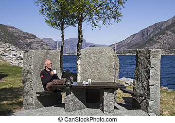 Relaxing at Hogfjorden - The attractive stone benches at...