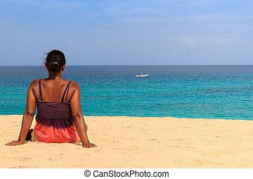 relaxing beach woman