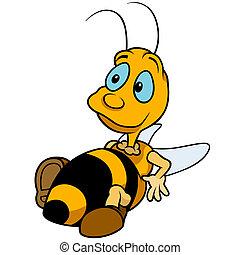 Relaxing Bumblebee - Colored Cartoon Illustration, Vector