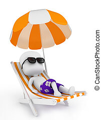 Relaxing - 3D Illustration of a Man Relaxing on a Beach...