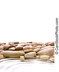 warm pebbles with shallow water ripples isolated over white background