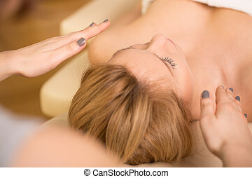Relaxing during reiki healing