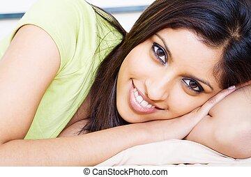 relaxing indian woman