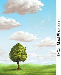 Relaxing landscape - A single tree in a sunny landscape. ...