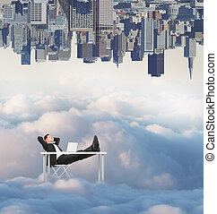 Relaxing man on creative background