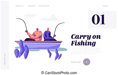 Relaxing Men Fishing in Boat on Lake or River at Summer Day. Fishermen Sitting with Rods Spend Time Together. Summertime Hobby. Website Landing Page, Web Page. Cartoon Flat Vector Illustration, Banner
