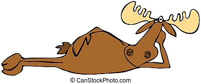 Relaxing moose - This illustration depicts a bull moose...