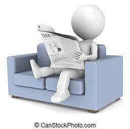 3D little human character sitting in the sofa reading the news. People series.