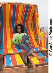 Relaxing on a beachchair