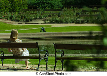relaxing on a bench