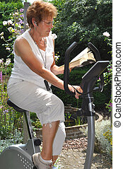 Relaxing on a hometrainer