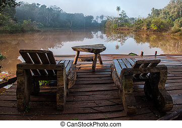 Relaxing on a lake, early morning, Argentina