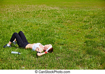 Relaxing on lawn