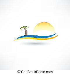 relaxing on the beach abstraction icon