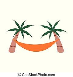 Relaxing Summer Beach Hammock Vector Illustration Object Design