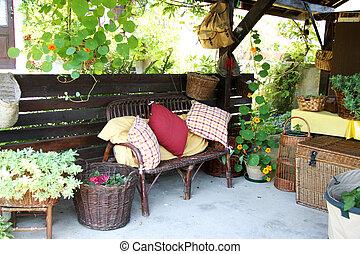 Relaxing summer environment garden furniture shed