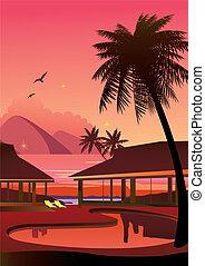 Relaxing tropical swimming pool.