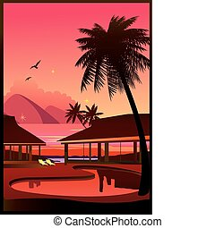Relaxing tropical swimming pool. Vector art-illustration.