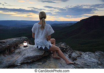 Relaxing views in the Blue Mountains Australia - Woman...