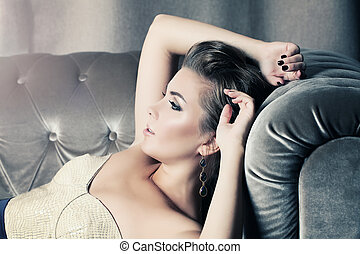 Relaxing Woman. Beauty Fashion Portrait