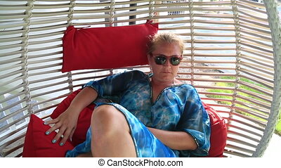 Relaxing Woman In Hammock