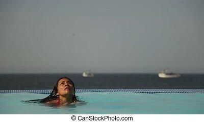 Relaxing Woman in Pool