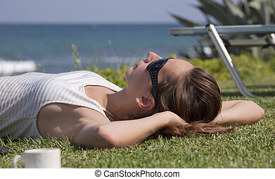 relaxing woman on the beach