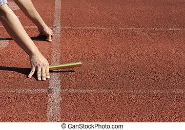 relay-athletes, ανάμιξη , δράση , αρχίζων
