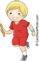 Relay Boy - Illustration Featuring a Boy Participating in a...