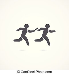 Relay race icon. - Relay race symbol icon on white...