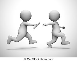 Relay race means collaboration synergy and partnership - 3d...