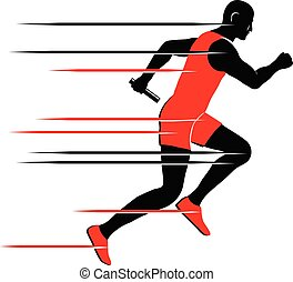 Relay runner with baton vector icon - Vector illustration of...