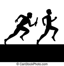 Relay with Two People Passing Baton. Vector illustration