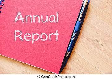 relazione annuale, scrivere, su, quaderno