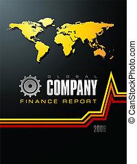 relazione, ditta, globale, coperchio, finanza