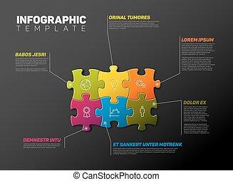 relazione, puzzle, infographic, sagoma, vettore