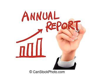 relazione, scritto, annuale,  3D, mano