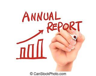 relazione, scritto, annuale, parole, mano