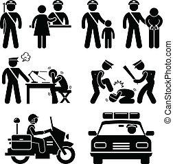 relazione, stazione, polizia, poliziotto