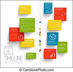 relazione, timeline, infographic, sagoma