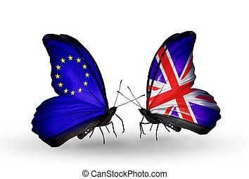 relazioni, bandiere, eu, farfalle, ali, simbolo, regno unito...
