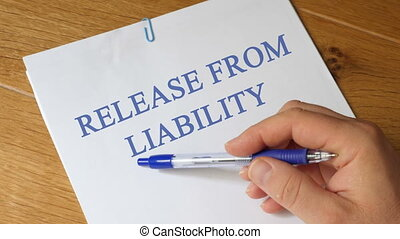 release from liability Concept - release from liability...