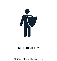 Reliability icon. Monochrome style design from business ethics icon collection. UI and UX. Pixel perfect reliability icon. For web design, apps, software, print usage.
