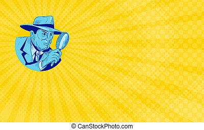 Business card showing Drawing sketch style illustration of a detective policeman police officer holding magnifying glass set inside circle on isolated background.