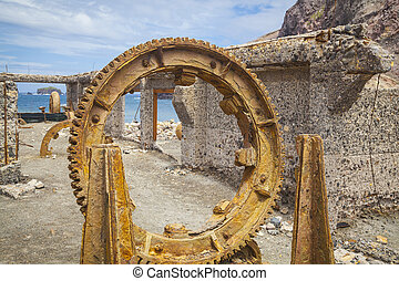 Relicts of a sulfur mine Whit Island New Zealand