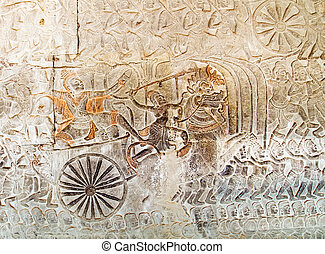 temple of Angkor Wat, Siem Reap, Cambodia. - relief carving...