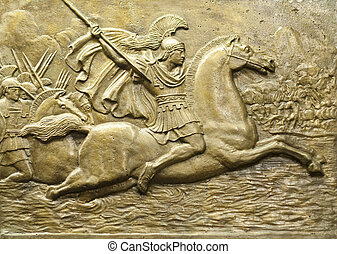 Relief depicting Alexander the Great and his army in battle.