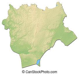 Relief map - Aktobe (Kazakhstan) - 3D-Rendering