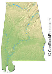 Relief map - Alabama (United States) - 3D-Rendering