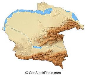 Relief map - Almaty (Kazakhstan) - 3D-Rendering